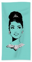 Audrey In Tiffany Blue Beach Towel by Rene Flores