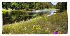 Beach Towel featuring the photograph August Flowers On The Pond by David Patterson