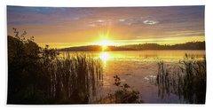 August Morning At The Lake Enajarvi Beach Sheet