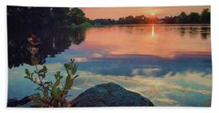 Beach Towel featuring the photograph August Sunset by Beth Sawickie