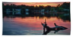 Beach Towel featuring the photograph August Sunset Glow by Beth Sawickie
