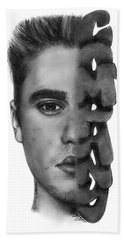 Justin Bieber Drawing By Sofia Furniel Beach Sheet by Sofia Furniel