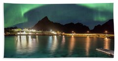 Aurora Above Turquoise Waters Beach Towel