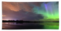 Aurora And Storm Clouds Beach Towel
