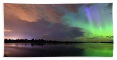 Aurora And Storm Clouds Beach Sheet