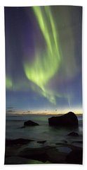 Aurora At Uttakleiv Beach Towel