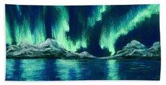 Beach Towel featuring the pastel Aurora Borealis by Anastasiya Malakhova