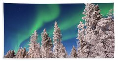 Beach Sheet featuring the photograph Aurora Borealis by Delphimages Photo Creations