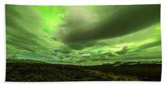 Aurora Borealis Over A Frozen Lake Beach Sheet by Joe Belanger
