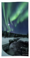 Aurora Borealis Over Blafjellelva River Beach Towel