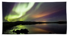 Aurora Borealis Over Thinvellir Beach Sheet by Gunnar Orn Arnason