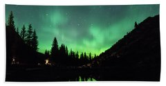 Aurora On Moraine Lake Beach Towel