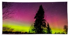 Aurora With Spruce Tree Beach Sheet by Tim Kirchoff