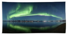 Auroras Over Langoya Island Beach Sheet