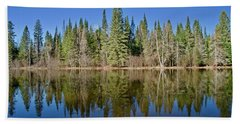 Ausable Reflections 1768 Beach Towel by Michael Peychich