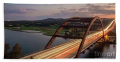 Austin 360 Bridge At Night Beach Towel