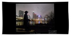Austin Hike And Bike Trail - Iconic Austin Statue Stevie Ray Vaughn - One Greeting Card Poster Beach Sheet