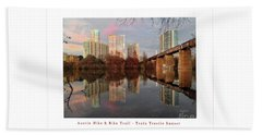 Austin Hike And Bike Trail - Train Trestle 1 Sunset Left Greeting Card Poster - Over Lady Bird Lake Beach Sheet by Felipe Adan Lerma