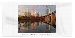 Austin Hike And Bike Trail - Train Trestle 1 Sunset Left Greeting Card Poster - Over Lady Bird Lake Beach Sheet