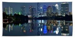 Austin Night Reflection Beach Towel by Frozen in Time Fine Art Photography