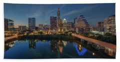 Austin Skyline At Night 7-4 Beach Towel