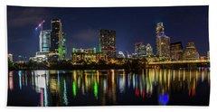 Austin Skyline At Night Beach Sheet