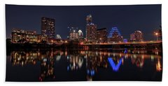 Beach Towel featuring the photograph Austin Skyline At Night by Todd Aaron