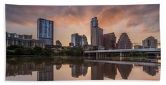 Beach Towel featuring the photograph Austin Skyline Sunrise Reflection by Todd Aaron