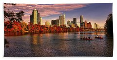 Austin Skyline Sunset Beach Sheet by Judy Vincent