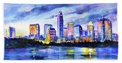 Austin Texas Colorful Skyline Sunset Beach Towel