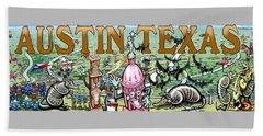 Beach Towel featuring the digital art Austin Texas Fun Art by Kevin Middleton
