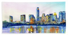 Austin Texas Skyline Beach Sheet by Carlin Blahnik