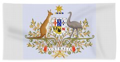 Beach Towel featuring the drawing Australia Coat Of Arms by Movie Poster Prints