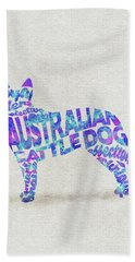 Beach Sheet featuring the painting Australian Cattle Dog Watercolor Painting / Typographic Art by Inspirowl Design