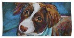 Beach Towel featuring the painting Australian Shepherd Puppy by Robert Phelps