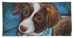 Beach Sheet featuring the painting Australian Shepherd Puppy by Robert Phelps