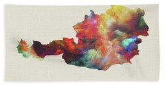 Austria Watercolor Map Beach Towel