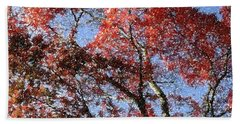 Autum Trees Illustrated Beach Towel