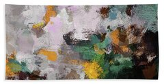 Autumn Abstract Painting Beach Sheet by Ayse Deniz
