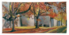 Autumn Along Maastricht City Wall Beach Towel by Nop Briex
