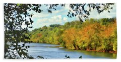 Beach Towel featuring the photograph Autumn Along The New River - Bisset Park - Radford Virginia by Kerri Farley