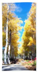 Beach Towel featuring the digital art Autumn Aspens by Deleas Kilgore