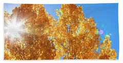 Autumn Aspens With Sun Star Beach Sheet