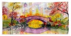 Autumn At Gapstow Bridge Central Park Beach Sheet