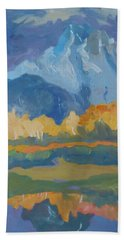Beach Sheet featuring the painting Autumn At Mt. Moran by Francine Frank