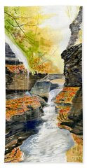 Autumn At Rainbow Falls  Beach Sheet by Melly Terpening