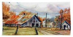 Beach Towel featuring the painting Autumn At The Farm by Ron Stephens