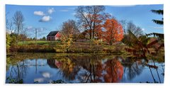 Autumn At The Farm Beach Sheet by Tricia Marchlik