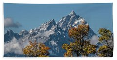 Beach Towel featuring the photograph Autumn At The Tetons by Yeates Photography