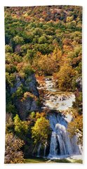 Autumn At Turner Falls Beach Towel by Joan Bertucci
